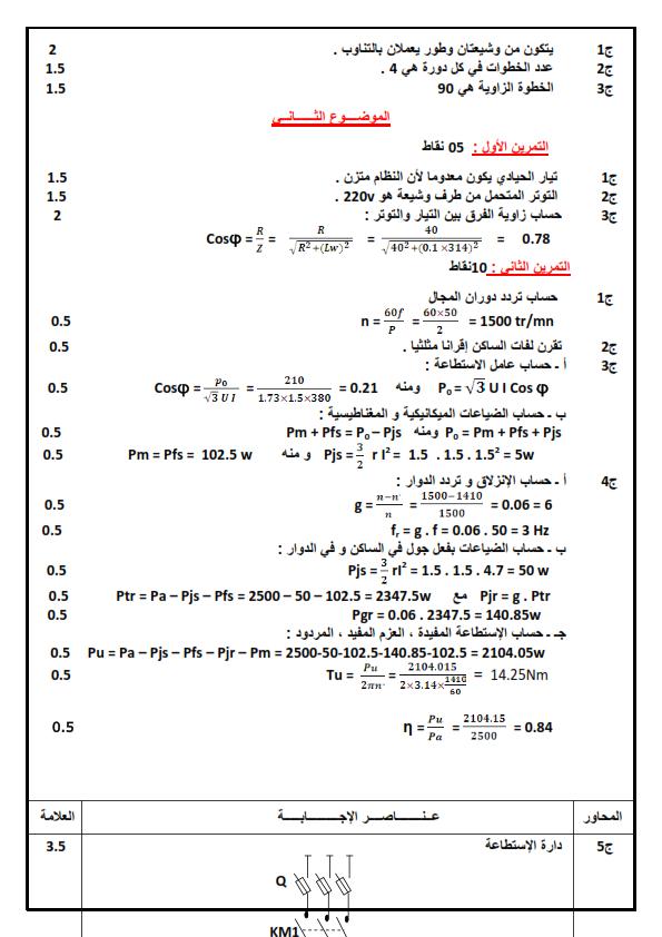 ملخص دروس الهندسة الكهربائية الثالثة ثانوي