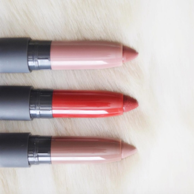 Three of bite's matte and satin lip crayons