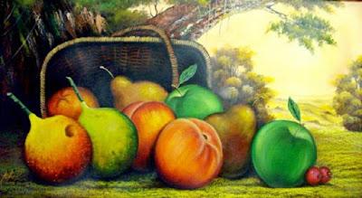 Pintura De Bodegon Frutas Paisaje Fondo