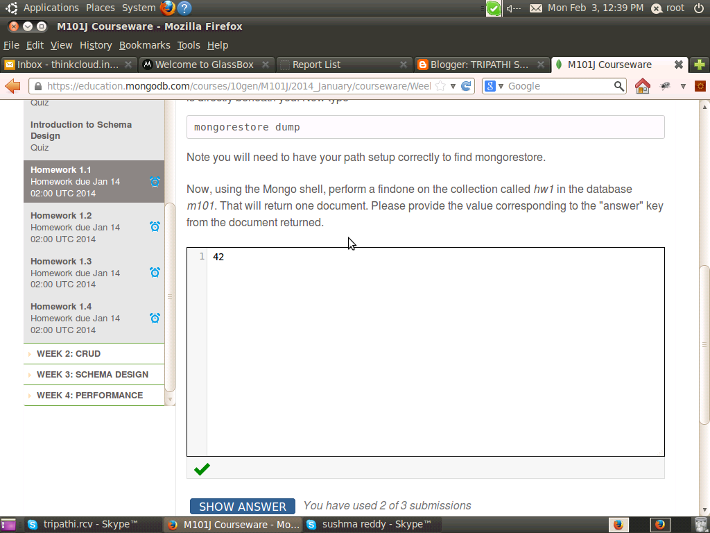 mongodb for dba homework 4.1 answer