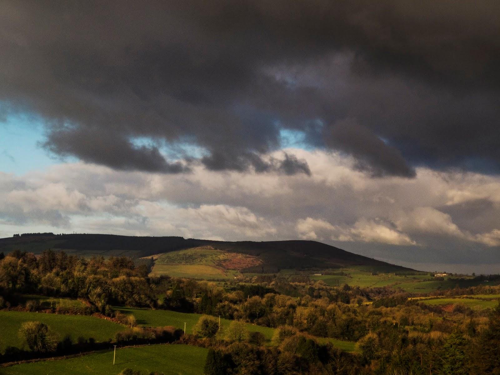 Dark clouds over a mountain in North Cork.