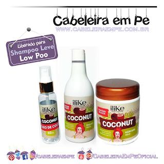 Linha Coconut - iLike (Shampoo, Máscara e Óleo liberados para Low Poo)