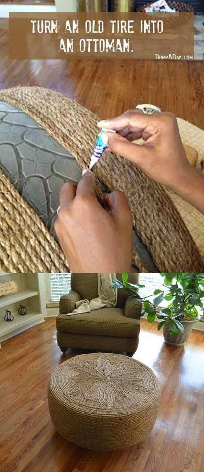 neumático cubierto de un material similar a la tela es usado como mesa