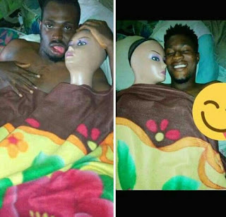 Nigerian man shares photo in bed with his 'sex doll'