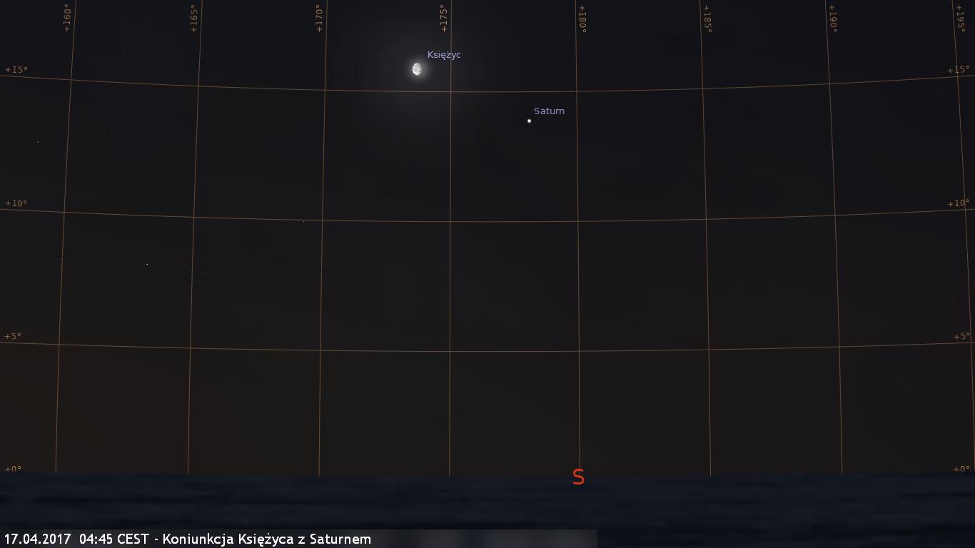 17.04.2017  04:45 CEST - Koniunkcja Księżyca z Saturnem