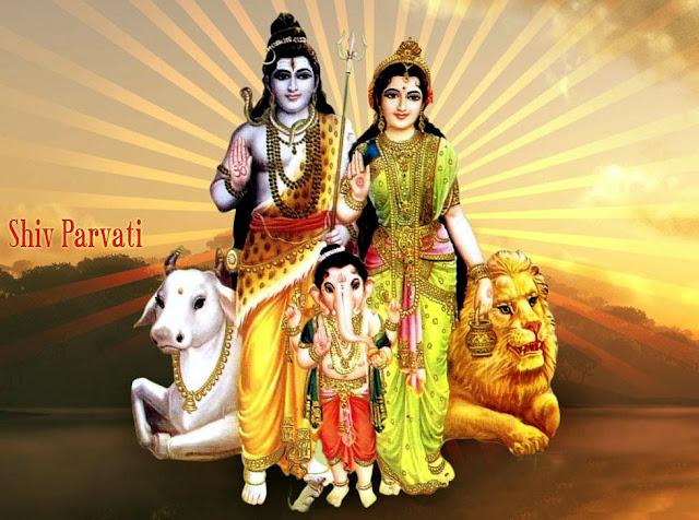 Ganesh ji shiv parvti ke sath