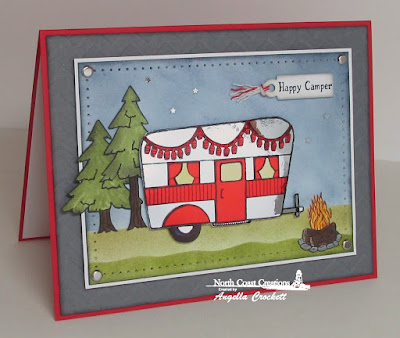 North Coast Creations Happy Camper, Our Daily Bread designs Custom Mini Tags Dies, Card Designer Angie Crockett