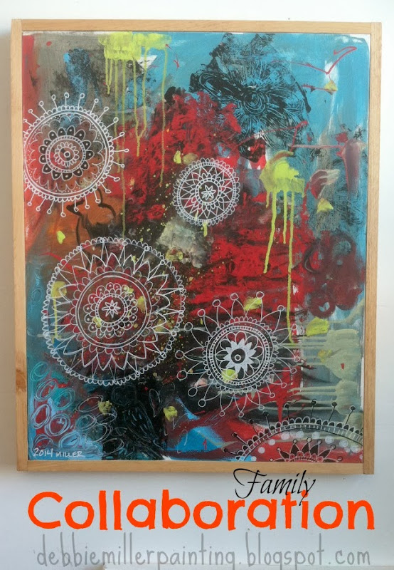 abstract art, mandalas, blue and red, painting, painting with kids