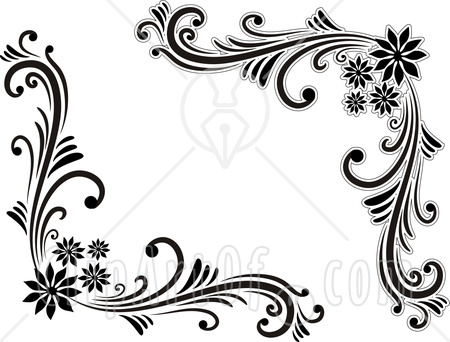 Best And Beautiful Black White Fl Corner Borders Pattern Designs Available For Free Feel To Click Each Image Enlarge