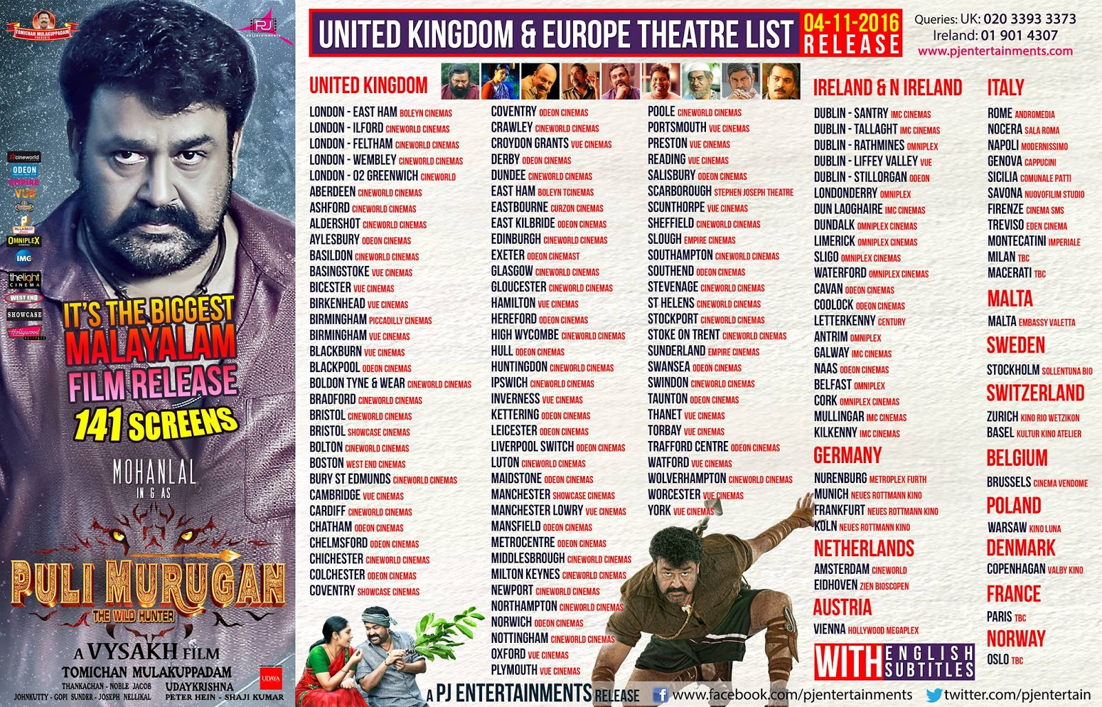 Pulimurugan U.K and  Europe Theater List