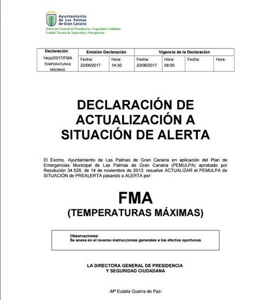 Alerta temperaturas máximas e incendio forestal,Las Palmas de Gran Canaria