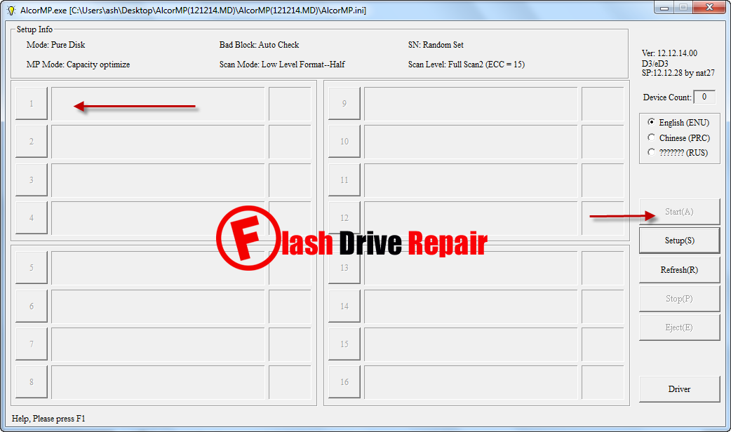 Sandisk ALcor AU6989ANHL-G USB format tool - Flash Drive Repair