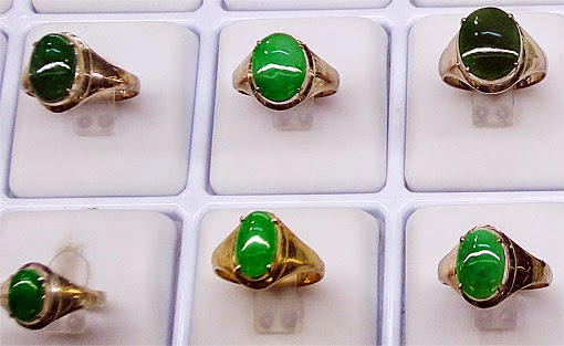 Jade cabochons used in rings