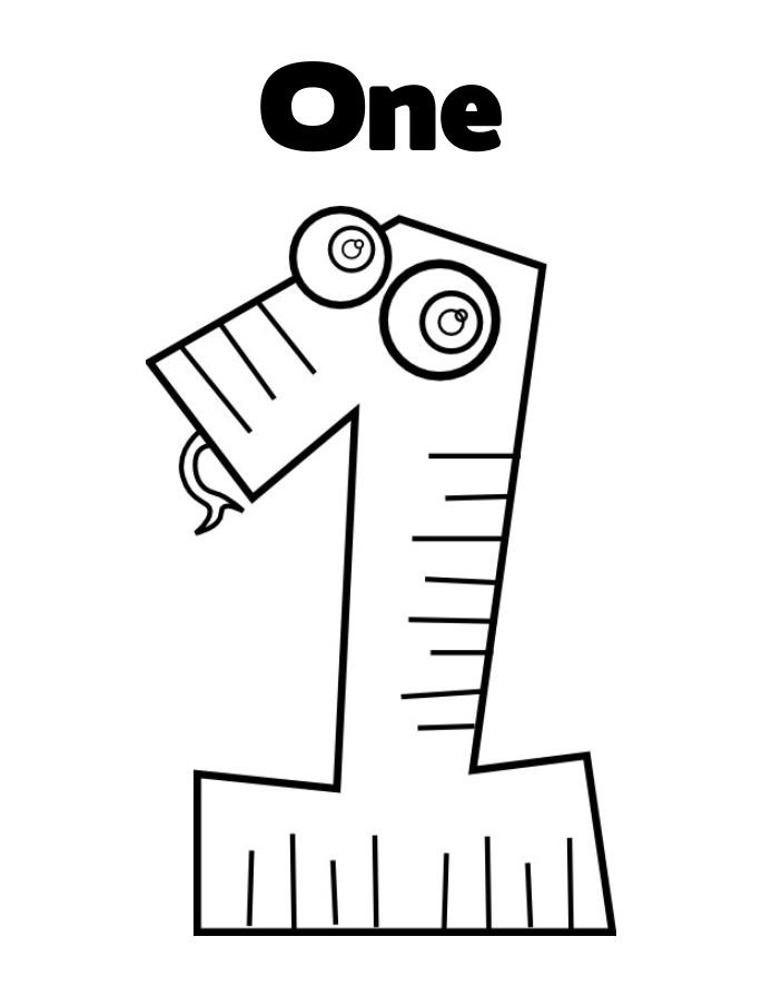 Coloring pages numbers 1 one for Number one coloring page