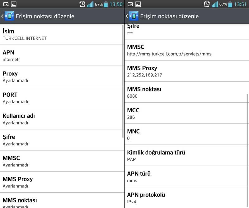 Turkcell APN internet ve MMS Ayarları