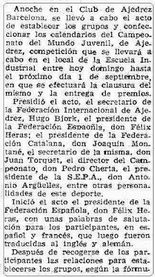 Recorte Mundo Deportivo de 15 de agosto de 1965 sobre el VIII Campeonato Mundial Juvenil de Ajedrez (1)