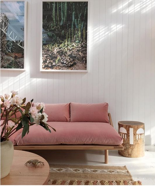 Loving this rose colored couch