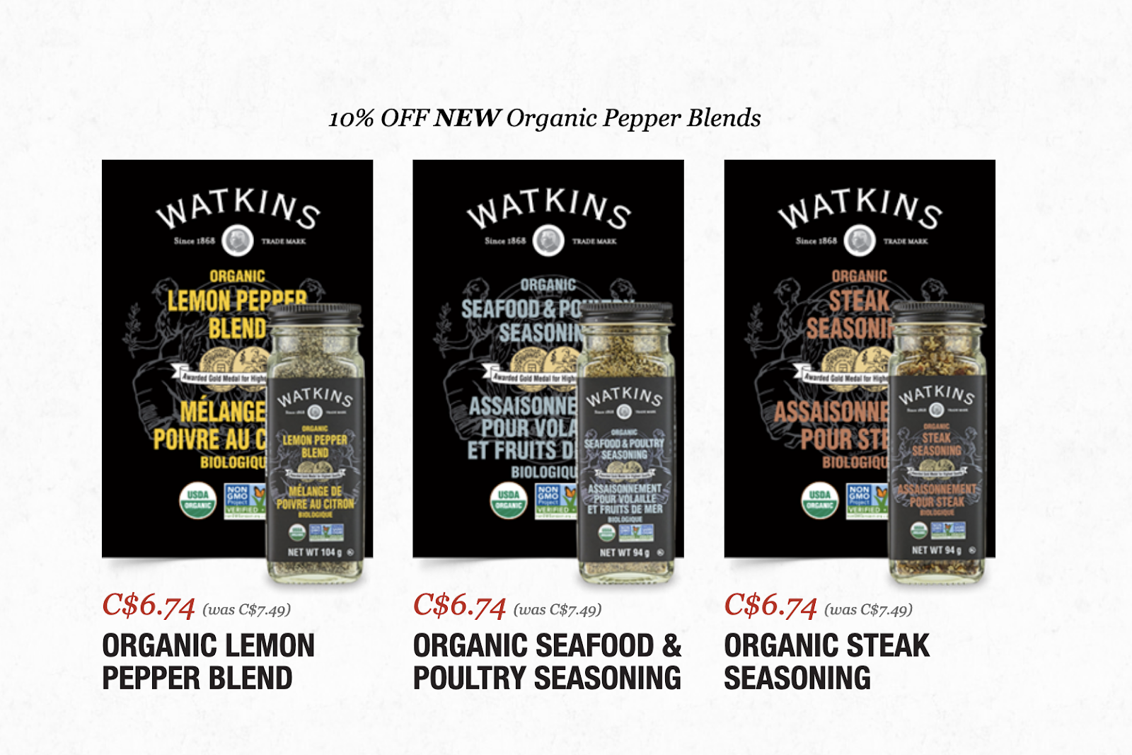 Watkins organic seasoning blends on sale April 2019