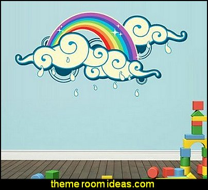 Rainbow Rain Kids Nursery Wall Decal Mural Sticker Decor