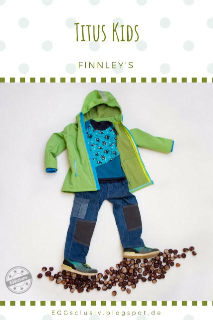 EGGsclusiv: Softshelljacke und Jeans nähen für Kinder, Freebook Schnabelina, Titus Kids - Finnley's, Zaubersoftshell, grün, türkis