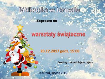 Zaproszenie na warsztaty świąteczne w grudniu 2017 roku