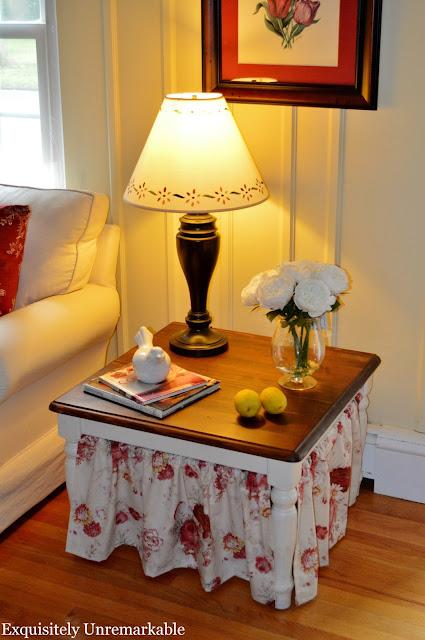 Waverly Norfolk Vintage Rose fabric on table skirt
