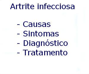 Artrite infecciosa causas sintomas diagnóstico tratamento prevenção riscos complicações