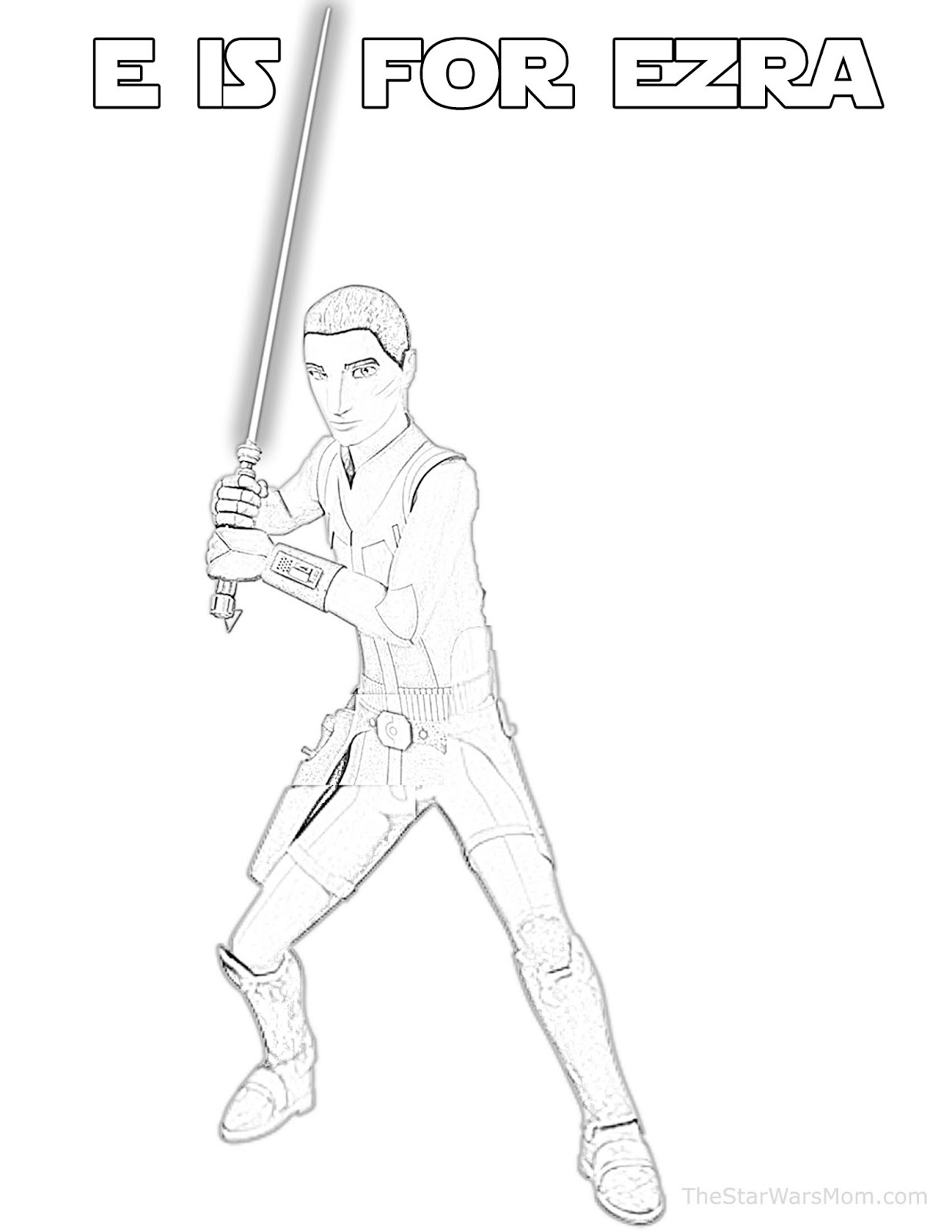 E is for Ezra Bridger - Star Wars Alphabet Coloring Page - The