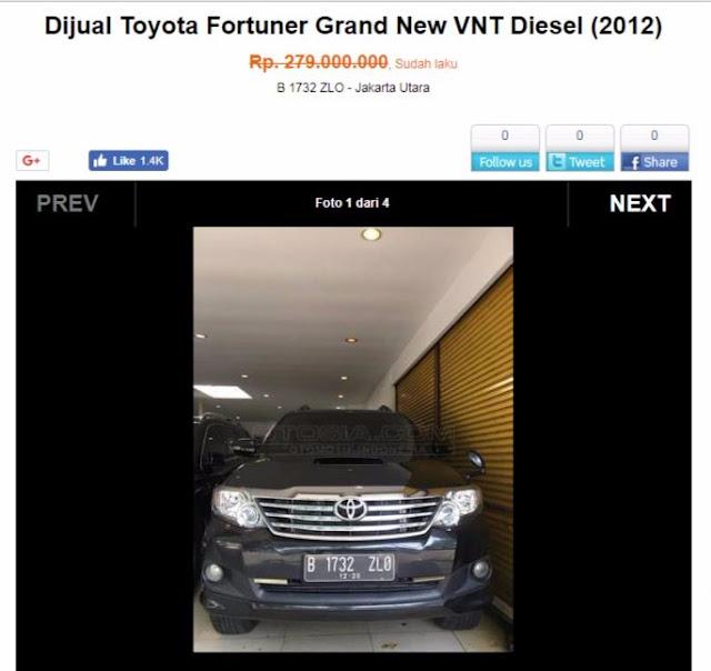 Mobil Fortuner Setnov
