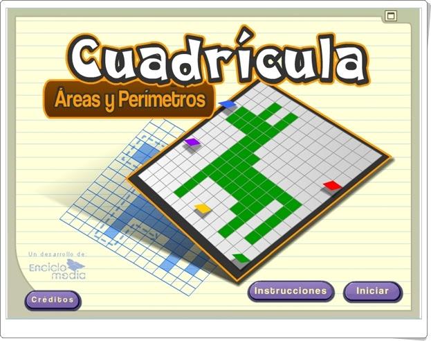 """Cuadrícula: """"Áreas y perímetros"""" (Aplicación de Geometría de Primaria)"""