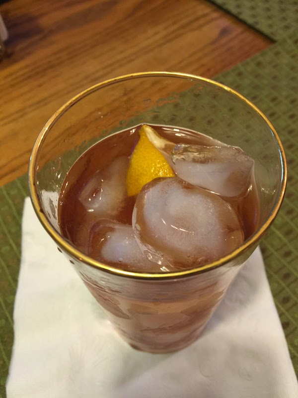 Sazerac cocktail seen from above