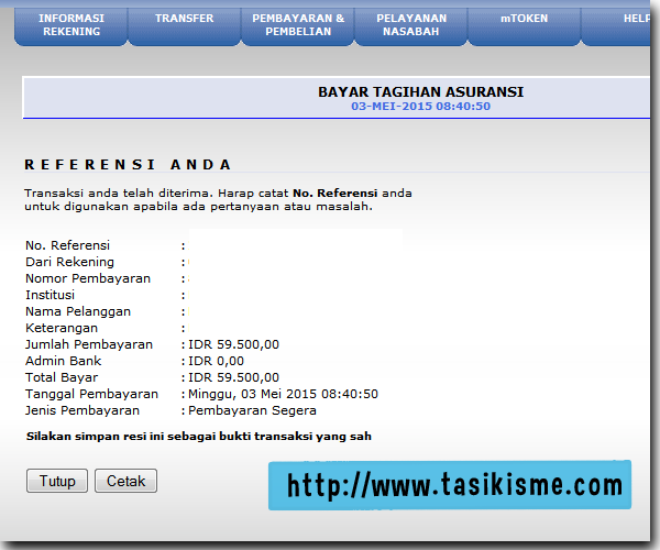 Cara pembayaran bpjs via internet banking