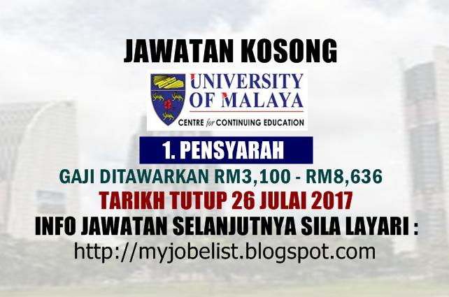 Jawatan Kosong Universiti Malaya (UMCCed) Julai 2017