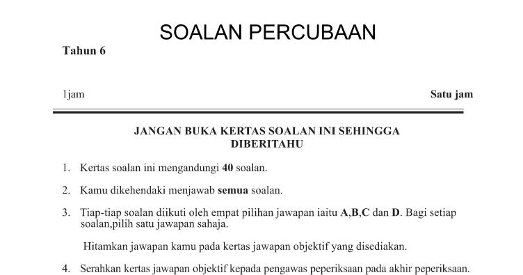 Soalan Percubaan Upsr 2019 Sains Kelantan Resepi Book I