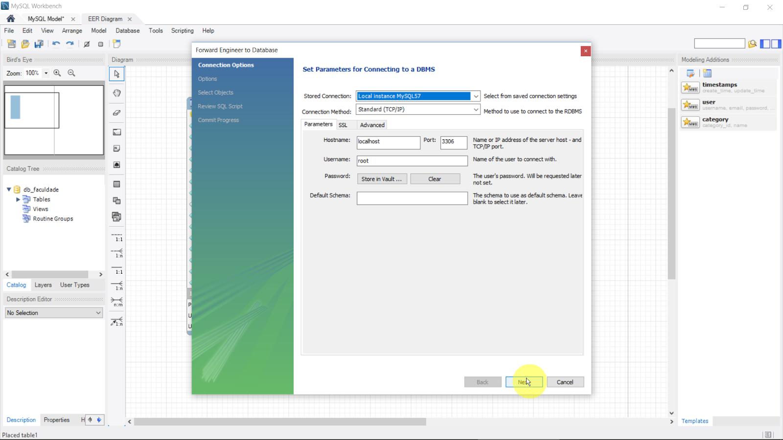 Usando mysql workbench modo design model 1 parte 17 ir aparecer a janela set parameters for connecting to a dbms selecione a opo local instance mysql57 se for conectar o banco de dados local com o ccuart Images