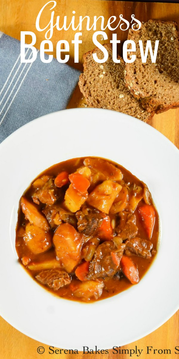 Guinness Beef Stew a favorite Irish recipe for St. Patricks Day! Beef Stew from scratch is a family favorite dinner recipe from Serena Bakes Simply From Scratch.