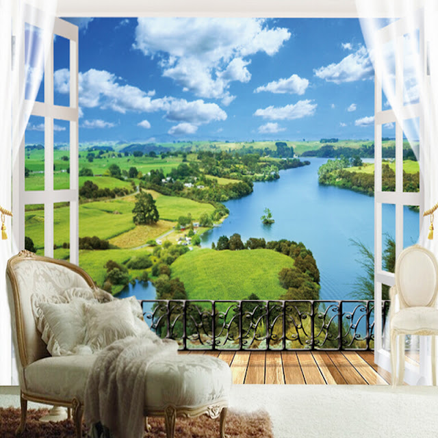 Nature Wall Murals 3d Photo Wallpaper Window Landscape View