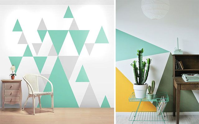 Hestia dise o geometr as decorar con triangulos for Pintura para pared interior