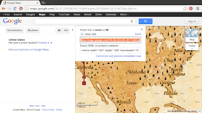 Get the URL from Google Maps with Threasure Mode selected