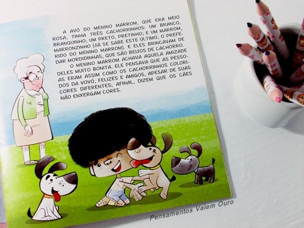 O lápis cor da pele do menino Marrom - Ana Paula Marini, livro infantil, diversidade, cores, respeito, leitura para crianças, Pensamentos valem Ouro, Blog, Dica de leitura, Leia para uma criança,