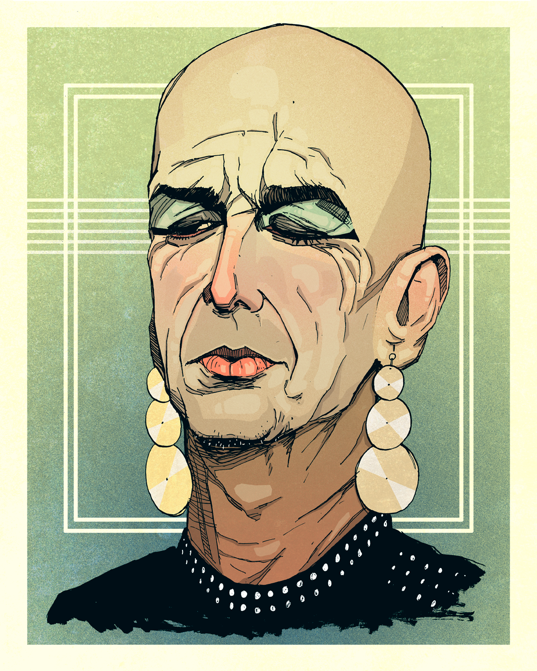 Drawing Denis O'Hare as Liz Taylor, AHS: Hotel