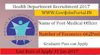 Department of Health Recruitment 2017 – 662 Medical Officer