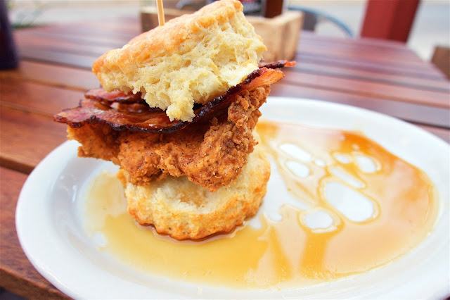 Maple Street Biscuit Company - The Sticky Maple - Flaky biscuit, all natural fried chicken breast, pecan wood smoked bacon all topped with Bissell Family Farm real maple syrup. SO good!