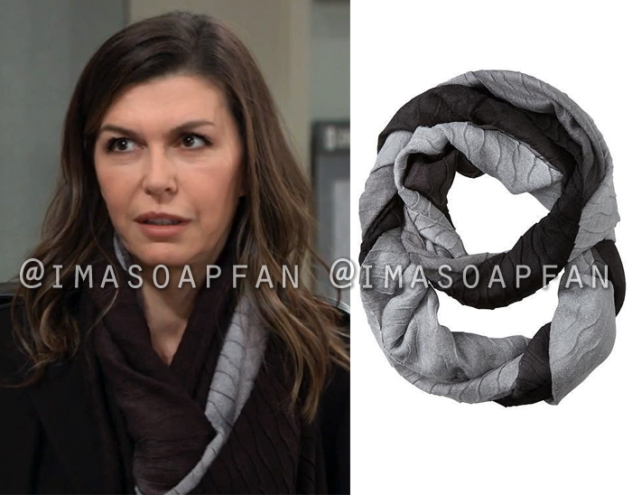 Anna Devane, Finola Hughes, Grey and Black Ombre Textured Infinity Scarf, General Hospital, GH