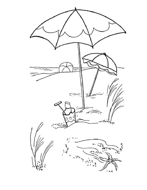 Gambar Mewarnai Pemandangan Pantai - 6