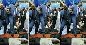 Viral Photos Of Pastor Walking On Church Members, Claims He's Too Holy To Walk On The Ground