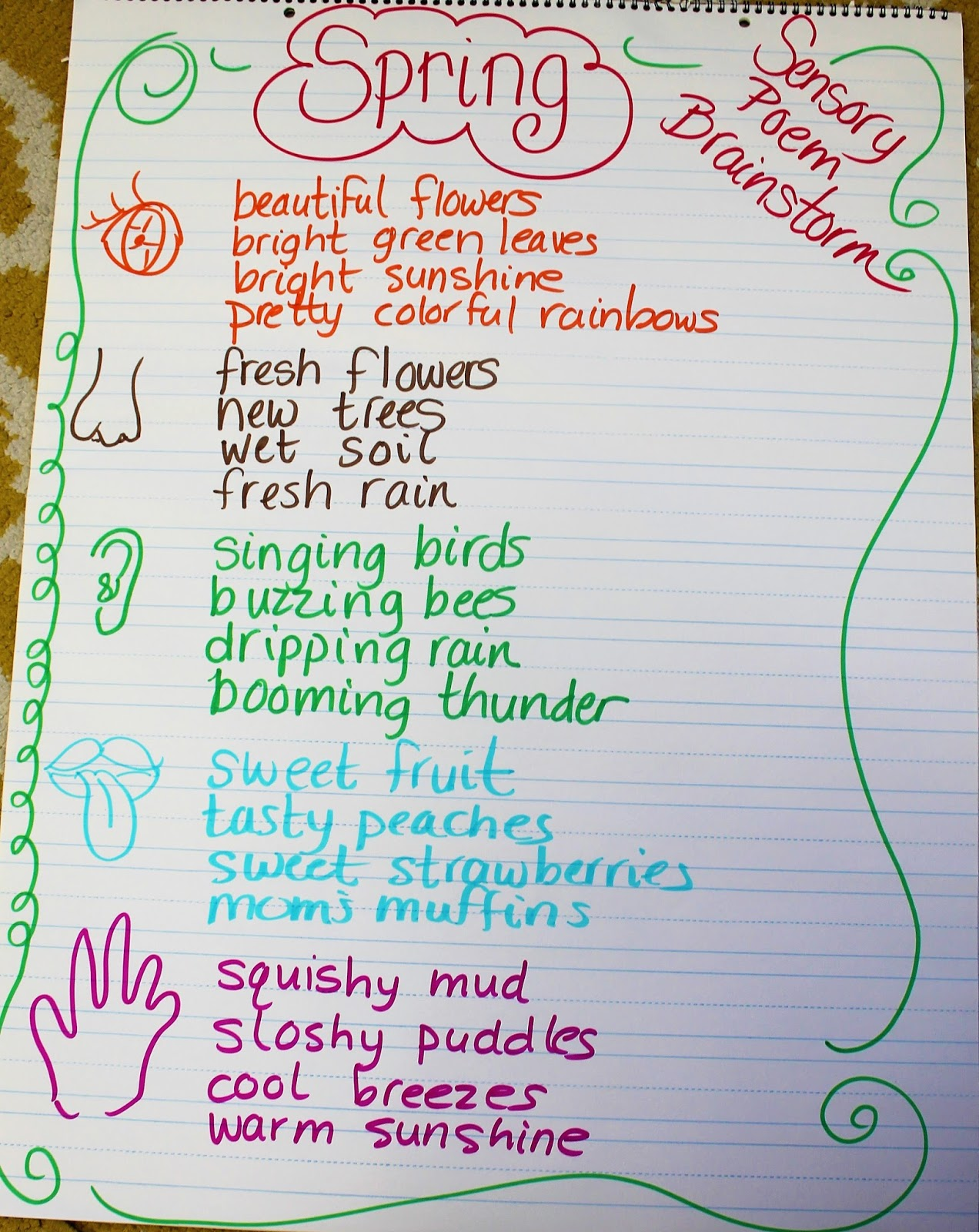 First grade wow celebrating spring with poetry kids wrote a rough draft of their spring sensory poems we edited and published in a rainbow shape i love this project and have done it for the last few mightylinksfo