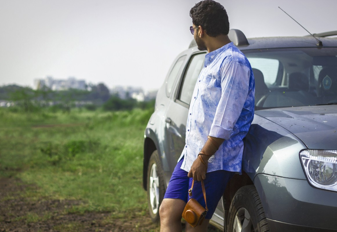 mens roadtrip style blue tie and dye shirt and shorts