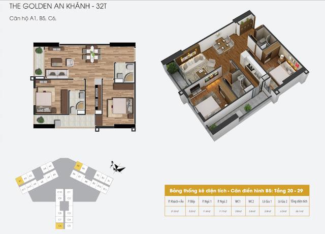 Thiết kế căn hộ a1 b5 b6 The Golden An Khánh