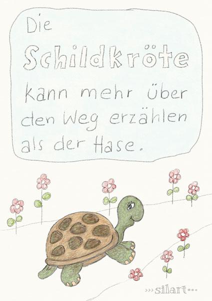 Die Schildkröte kann mehr über den Weg erzählen als der Hase